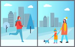 Man Skiing and Family Walking Vector Illustration. Man skiing and family walking dog, active holidays passed in town, cityscape with skyscrapers and high Stock Photography