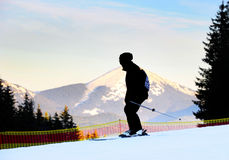 Man skiing, silhouette Royalty Free Stock Photography