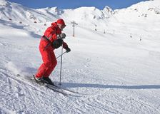 The man is skiing at a ski resort Royalty Free Stock Photos