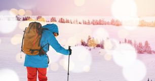 Man skiing on slope Royalty Free Stock Images