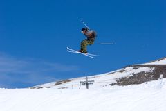 Man skiing on slopes of Pradollano ski resort in Spain Royalty Free Stock Photos