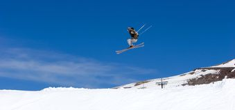 Man skiing on slopes of Pradollano ski resort in Spain Stock Image