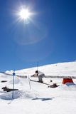 Man skiing on slopes of Pradollano ski resort in Spain Royalty Free Stock Photography