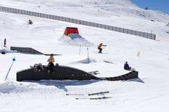 Man skiing on slopes of Pradollano ski resort in Spain Stock Photography
