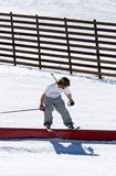 Man skiing on slopes of Pradollano ski resort in Spain royalty free stock images