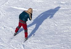 Man skiing in the snow in winter.  Stock Image