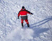 Man skiing in the snow in winter.  Royalty Free Stock Images