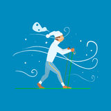 Man Skiing with Sticks. Vector Illustration Royalty Free Stock Images