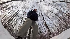 Man skiing in a winter forest. stock video