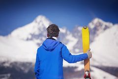 Man skiing in winter nature Royalty Free Stock Images