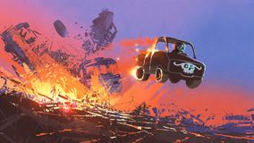 Scene of the battle of vehicles. Man in skull mask driving a truck coming out of explosion, digital art style, illustration painting Stock Photo
