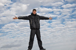 Man sky clouds Royalty Free Stock Image