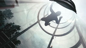 Man skydiver flies in air a wind tunnel slow motion. Extreme parachuting stock video