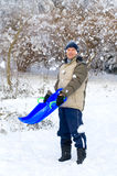 Man with sledge Stock Image