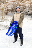 Man with sledge Royalty Free Stock Photos