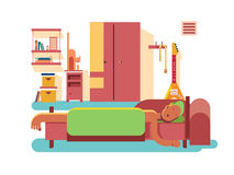 Man sleep in bed. Dream, bedroom interior, vector illustration Royalty Free Stock Image