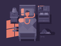 Man sleep in bed. Dream night, bedroom interior, vector illustration Royalty Free Stock Photo