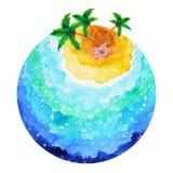 Man sleep sunbathe under coconut tree in vacation cartoon Stock Image