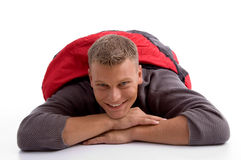 Man in sleeping bag lying Royalty Free Stock Images