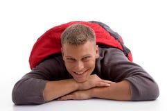 Man in sleeping bag lying Royalty Free Stock Images