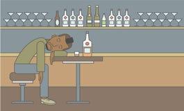 Man sleeping in bar Stock Photo