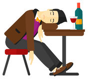 Man sleeping in bar. Stock Photo