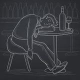 Man sleeping in bar. Royalty Free Stock Photos