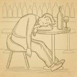 Man sleeping in bar. Stock Photo