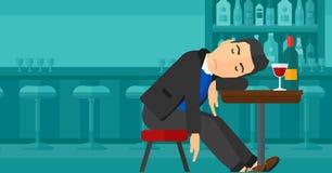 Man sleeping in bar. Royalty Free Stock Image