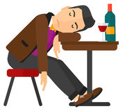 Man sleeping in bar Stock Photo