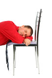 Man sleeping on the chair Stock Photo
