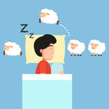Man sleeping,Counting sheep to fall asleep illustration. Royalty Free Stock Images