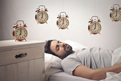 Man sleeping and dreaming Royalty Free Stock Photos