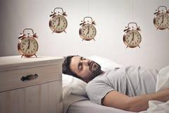 Man sleeping and dreaming Royalty Free Stock Photos