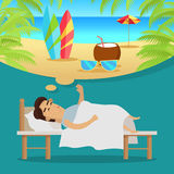 Man Sleeping and Dreaming Vacation on Beach Royalty Free Stock Photography