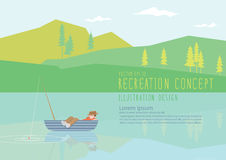 Man sleeping on a fishing boat in nature flat vector. Royalty Free Stock Photo