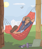 Man sleeping in hammock at nature. Funny vector illustration Royalty Free Stock Photography