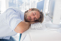 Man sleeping on his desk Royalty Free Stock Images