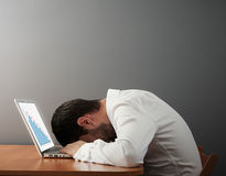 Man sleeping on the keyboard Royalty Free Stock Images