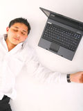 Man Sleeping With Laptop Stock Photo