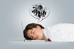 Man sleeping on the laptop Stock Photos
