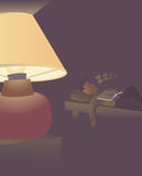 Man sleeping with the light on Royalty Free Stock Photography