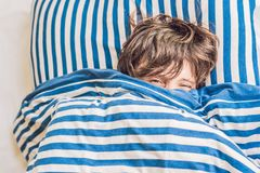 Free Man Sleeping On His Bed In Bedroom At Home Royalty Free Stock Photography - 113120707