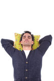 Man sleeping on a pillow Stock Photos