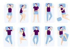 Man sleeping poses. Night sleep pose, asleep male positioning on bed and sleep position isolated vector illustration vector illustration