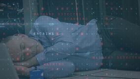 Man sleeping in server room while security danger messages flash in the foreground. Animation of a panning shot of a Caucasian man sleeping on the floor of a stock footage