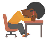 Man sleeping on table. An african-american man sleeping on table vector flat design illustration isolated on white background Stock Image