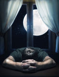 Man sleeping on the table Royalty Free Stock Images