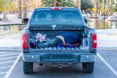 Man Sleeping in Truck stock photo