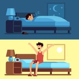 Man sleeping waking up. Person under duvet at night and getting out of bed morning. Peacefully sleep in comfy mattress. Vector concept royalty free illustration